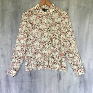 Silk Floral Sheer Blouse Button Front Work Career